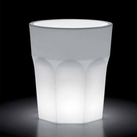 Helle dekorative Polyethylenvase mit LED-Licht Made in Italy - Pucca