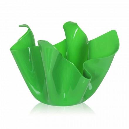 Grüne Vase für drapiertes Design im Innen- und Außenbereich Pina, hergestellt in Italien