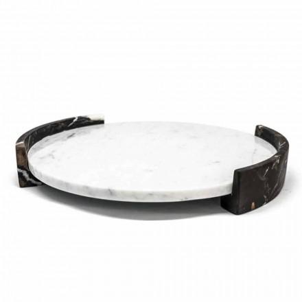 Modernes rundes Tablett aus weißem Carrara-Marmor Made in Italy - Chet