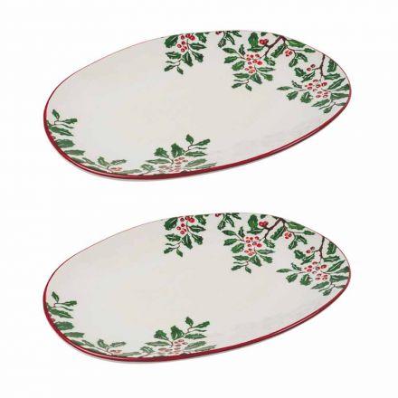 Weihnachtstablett oder ovale Servierteller aus Porzellan 2 Stück - Pungitopo