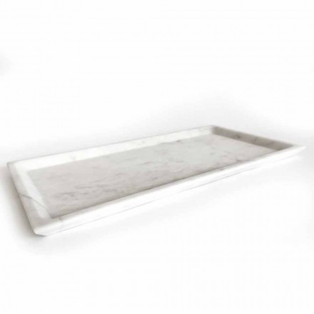 Rechteckiges Tablett aus poliertem weißem Carrara-Marmor Made in Italy - Alga