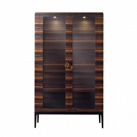 Design Vitrin aus Massivholz mit 2 Türen in Italien hergestellt