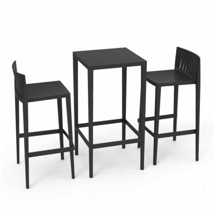 Vondom Spritz Gartensmöbel Set: Tisch und 2 Hocker in schwarzer Farbe