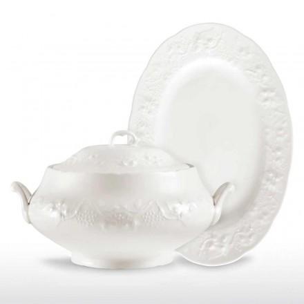 Große Terrine und Tablett in weißem Porzellan verziert - Gimignano